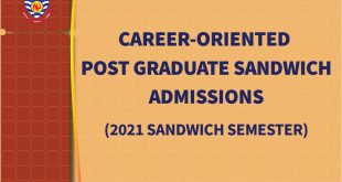 Career-Oriented Post Graduate Sandwich Admissions - 2021 Sandwich Semester